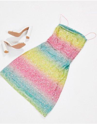 Multicolore donna Vestito corto in paillettes a righe arcobaleno - Rare London - Multicolore