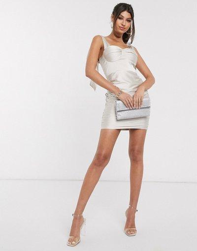 Oro donna Vestito corto in raso champagne con laccetti sulle maniche - Rare London - Oro