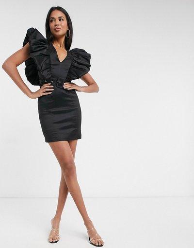 Nero donna Vestito corto nero con volant sulle maniche - Rare London
