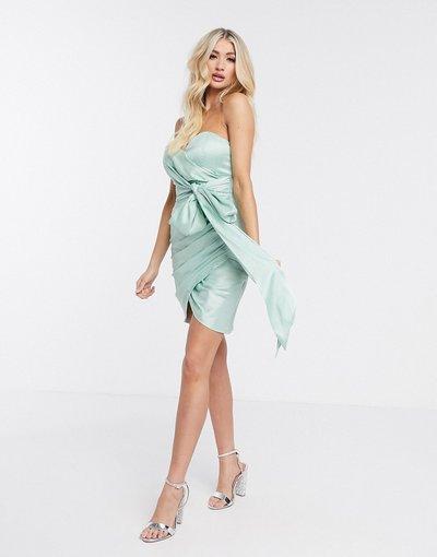 Verde donna Vestito corto senza spalline con fiocco menta - Rare London - Verde