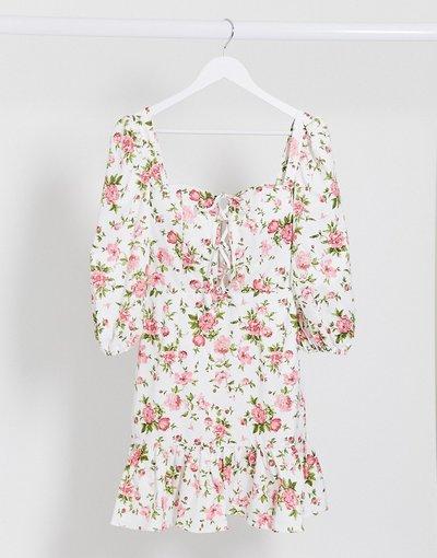 Eleganti pantaloni Multicolore donna Vestito floreale milkmaid multi con allacciatura - Rare London - Multicolore