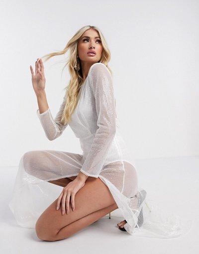 Bianco donna Vestito lungo a maniche lunghe trasparente bianco - Rare London