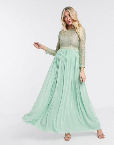 Verde donna Vestito lungo a maniche lunghe trasparente menta - London - Rare - Verde
