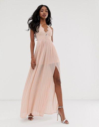 Rosa donna Vestito lungo con coppe e retro smerlato grigio talpa - Rare London - Rosa