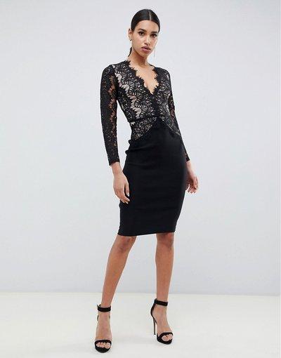 Nero donna Vestito midi a fascia con pizzo smerlato nero - Rare London
