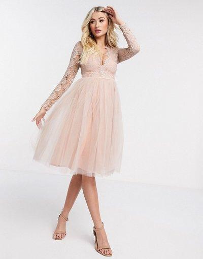 Rosa donna Vestito midi a maniche lunghe in tulle - Rare London - Rosa