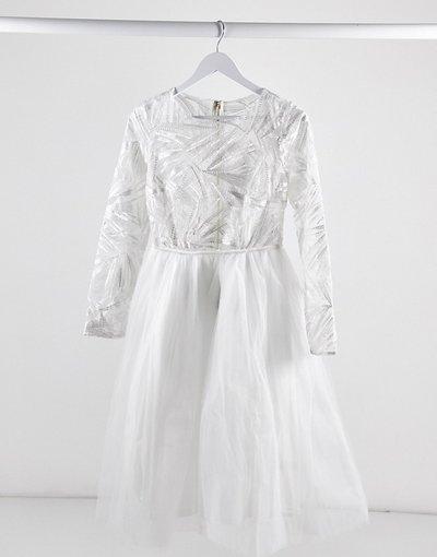 Bianco donna Vestito midi in tulle con top a maniche lunghe in pizzo bianco - Rare London