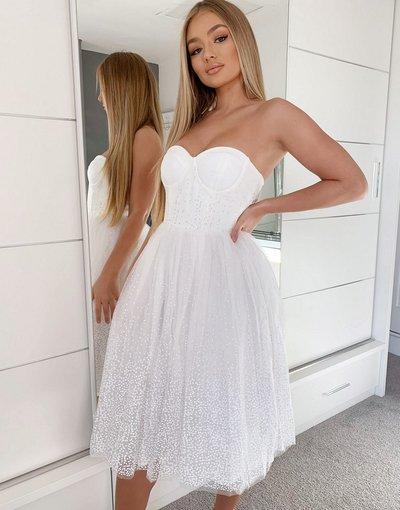 Eleganti con scollo Bianco donna Vestito midi senza spalline bianco con gonna in tulle - Rare London