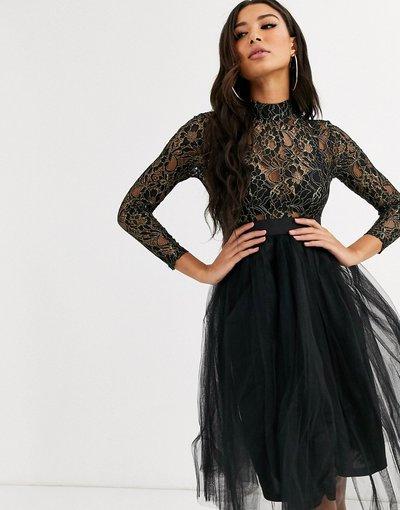 Nero donna Vestito per uscire in tulle con paillettes - Rare London - Nero