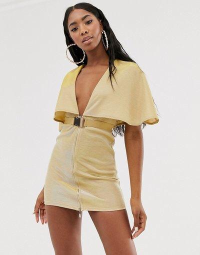 Oro donna Vestitino scollo profondo con cintura e mantellina oro - Rare