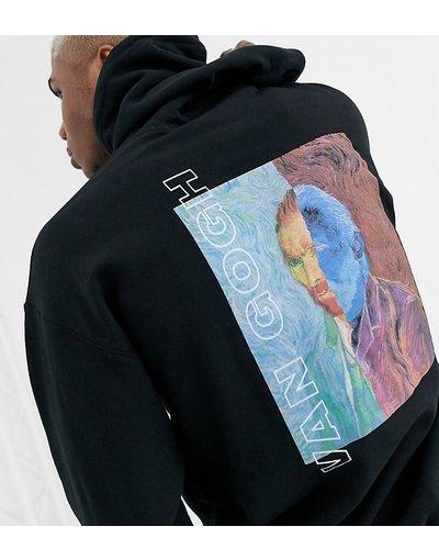 Felpa Nero uomo Felpa oversize nera con cappuccio e stampa di Van Gogh - Reclaimed Vintage - Nero