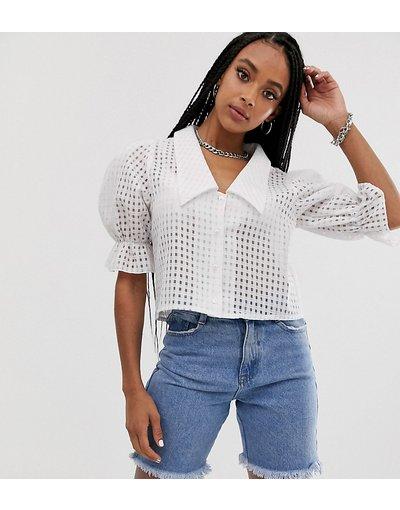 Camicia Bianco donna Camicia corta a quadri trasparente - Reclaimed Vintage Inspired - Bianco