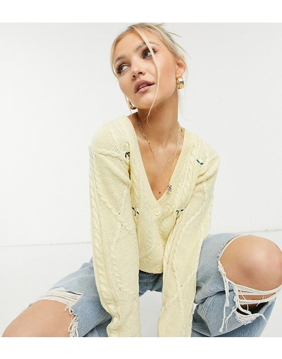 Giallo donna Cardigan lavorato in maglia a trecce in giallo limone a fiori ricamati in coordinato - Reclaimed Vintage Inspired