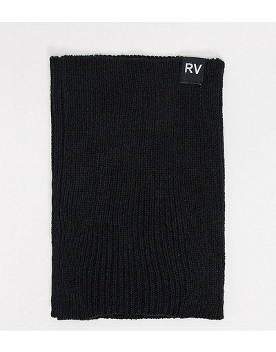 Nero uomo Scaldacollo a coste nero con etichetta logo RV - Reclaimed Vintage Inspired
