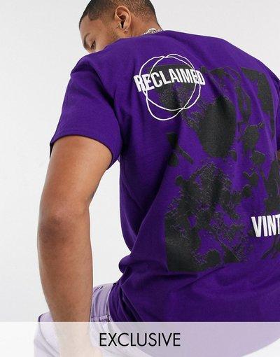 T-shirt Viola uomo shirt con stampa sul retro - Reclaimed Vintage - Viola - T