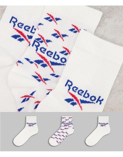 Intimo Bianco uomo Confezione da 3 paia di calzini sportivi bianchi - Reebok Classics - Bianco