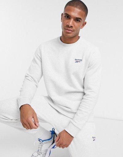 Felpa Bianco uomo Felpa basic con logo Vector grigio chiaro - Reebok Classics - Bianco
