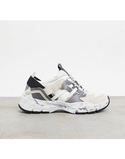 Sneackers Bianco uomo Reiss: sneakers da trekking Liam in pelle con suola spessa, bianco