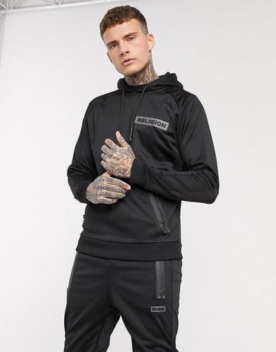 Felpa Nero uomo Felpa con cappuccio nera in tricot in poliestere con logo gommato - Religion - Nero