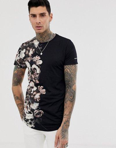 T-shirt Nero uomo shirt con stampa laterale con fiori e teschi - Religion - Nero - T