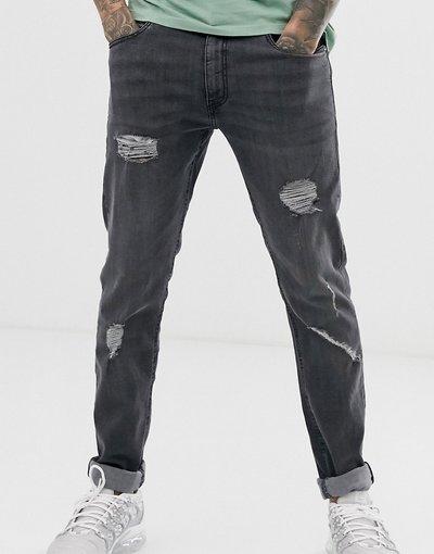 Jeans Grigio uomo Jeans super skinny effetto invecchiato - Ringspun - Grigio
