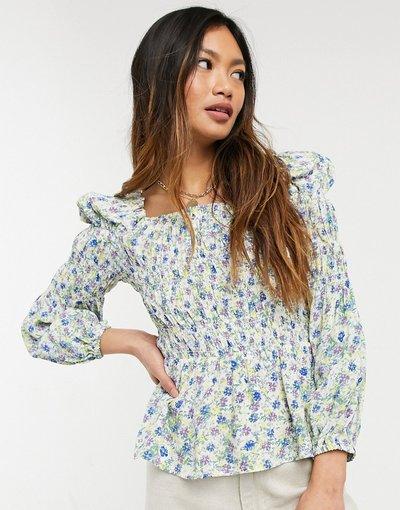 Camicia Crema donna Blusa arricciata crema a fiorellini - River Island