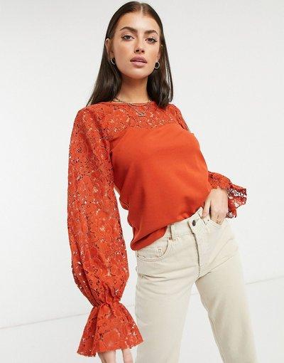 Camicia Marrone donna Blusa rossa con maniche in pizzo - River Island - Marrone