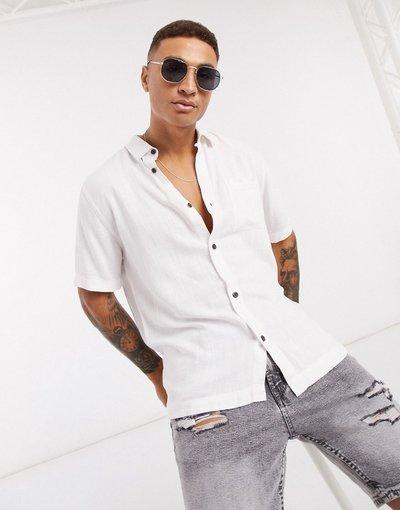 Camicia Bianco uomo Camicia a maniche corte in lino bianca - River Island - Bianco