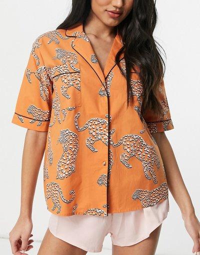 Pigiami Arancione donna Camicia del pigiama arancione in jacquard con tigri in coordinato - River Island