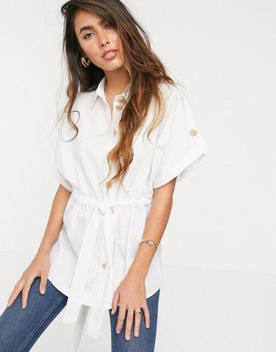 Camicia Bianco donna Camicia stretta in vita bianca - River Island - Bianco