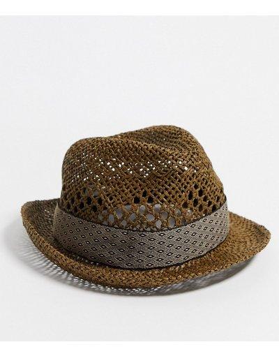 Cappello Marrone uomo Cappello trilby intrecciato marrone con decoro geometrico - River Island