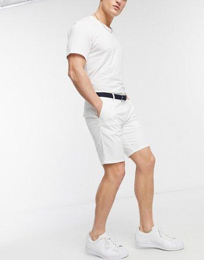 Bianco uomo Chino corti slim bianchi con cintura - River Island - Bianco