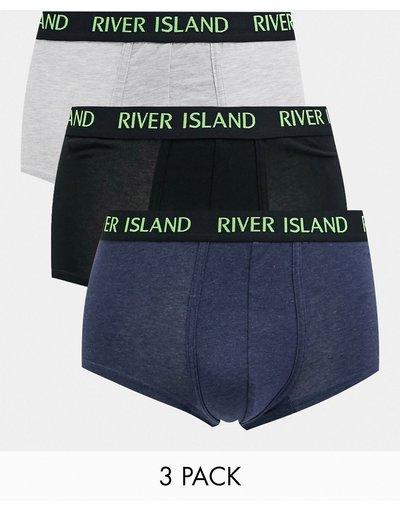 Calze Grigio uomo Confezione da 3 paia di boxer grigi - River Island - Grigio