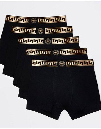 Intimo Nero uomo Confezione da 5 boxer aderenti neri con stampa di monogramma - River Island - Nero