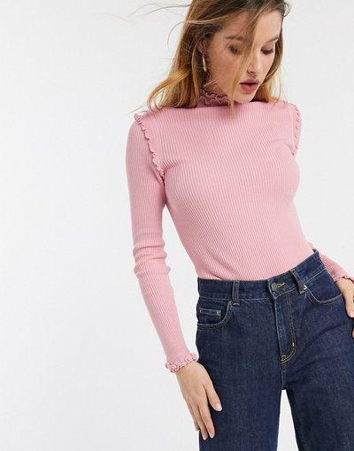 T-shirt Rosa donna Maglietta a maniche lunghe rosa con fondo ondulato - River Island