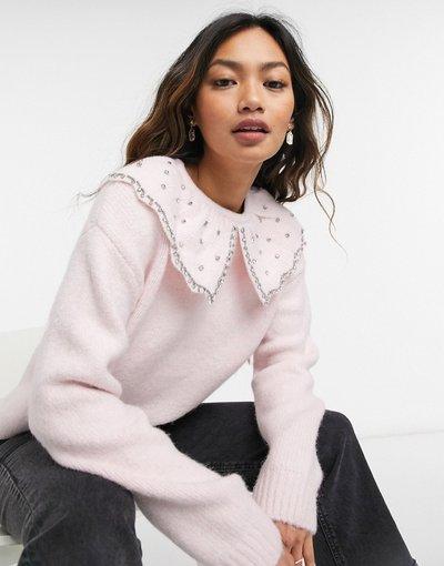 Rosa donna Maglione con colletto oversize rosa chiaro - River Island