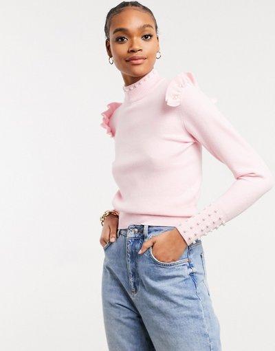 Rosa donna Maglione con perle e volant rosa chiaro - River Island