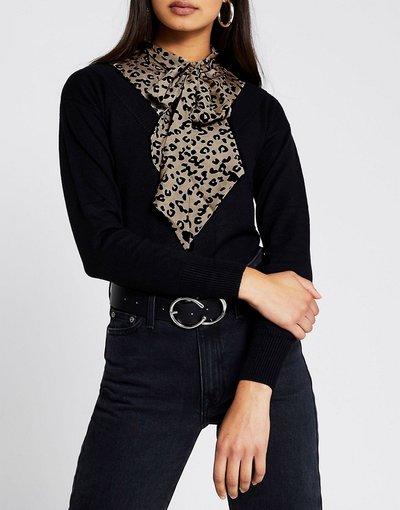 Nero donna Maglione nero con fiocco leopardato - River Island