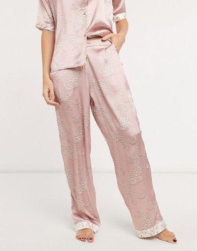 Pigiami Beige donna Pantaloni del pigiama in raso beige con stampa con tigri - River Island