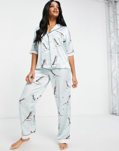 Pigiami Blu donna Pantaloni del pigiama in raso blu con stampa di uccelli in coordinato - River Island
