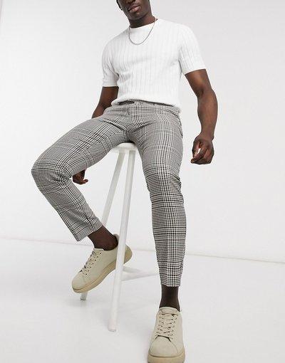 Grigio pietra uomo Pantaloni eleganti skinny color pietra a quadri - River Island - Grigio pietra