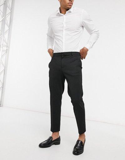Nero uomo Pantaloni eleganti testurizzati - River Island - Nero