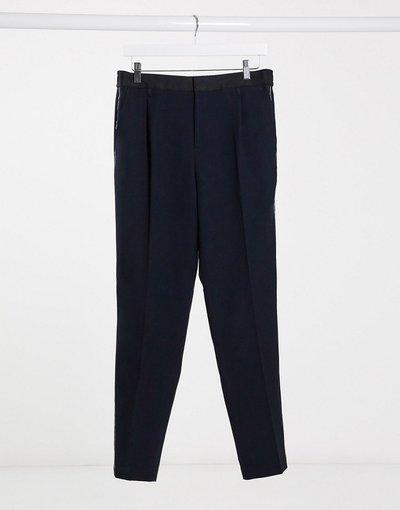 Navy uomo Pantaloni in seersucker blu navy - River Island