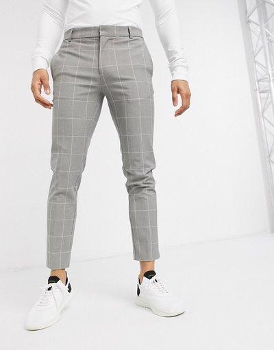 Pantalone Grigio uomo Pantaloni ultra skinny grigi a quadri - River Island - Grigio