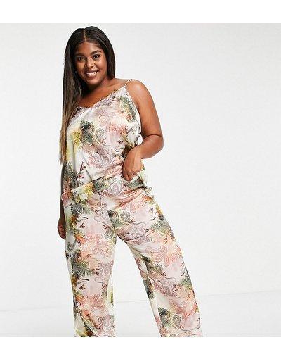 Pigiami Rosa donna Pantaloni del pigiama in raso con stampa cachemire rosa in coordinato - River Island Plus