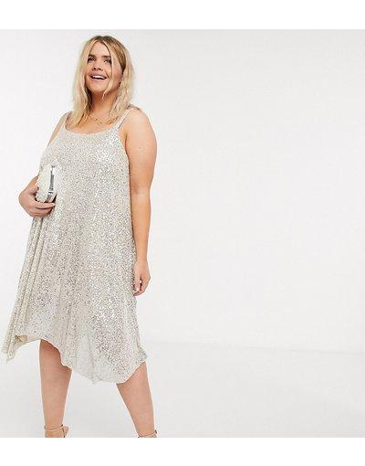 Argento donna Vestito corto con spalline sottili e paillettes argento - River Island Plus