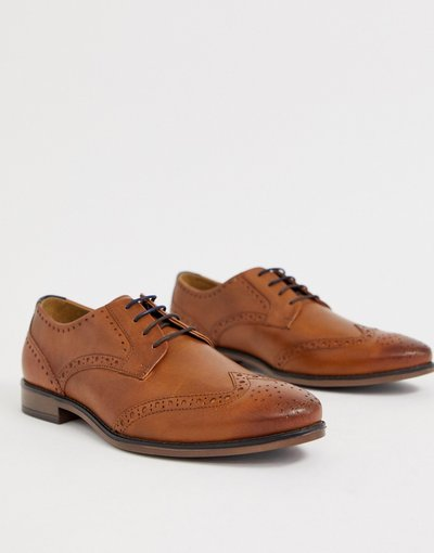 Sneackers Marrone uomo Scarpe brogue in pelle color cuoio - River Island - Marrone