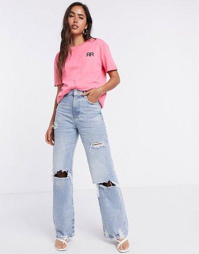 T-shirt Rosa donna shirt rosa con logo e risvolto sulle maniche - River Island - T
