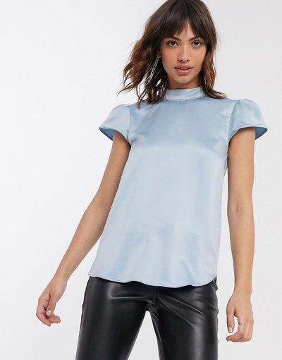 Camicia Blu donna Top a maniche corte in raso blu - River Island
