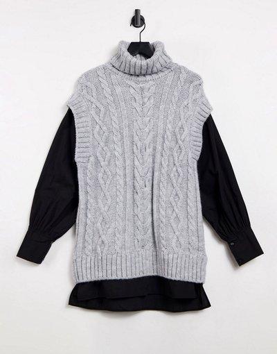 Grigio donna Top ibrido con camicia e canotta in maglia a trecce grigio - River Island
